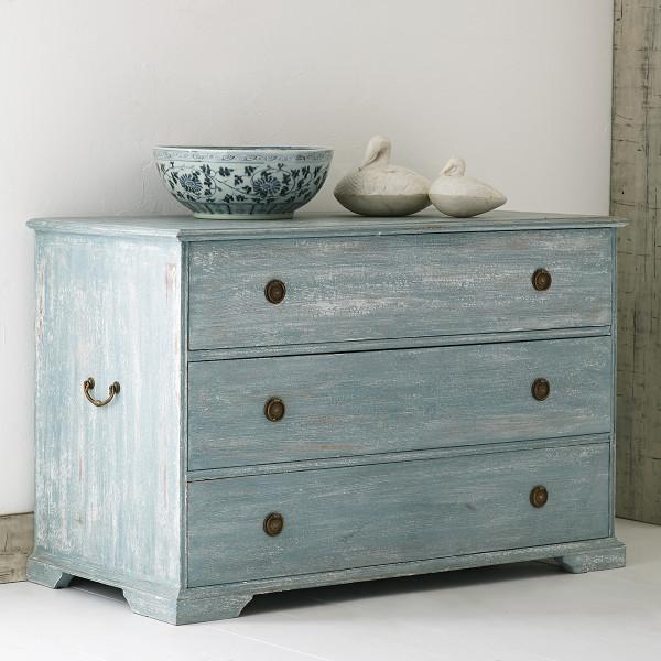 Blue Distressed Three Drawer Dresser