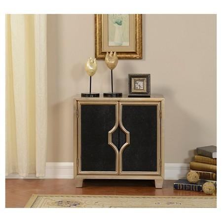 Gold And Black Two Door Cabinet