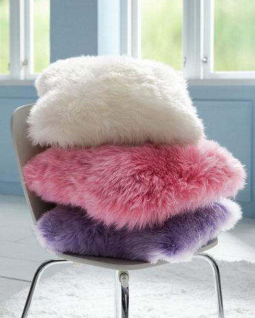 cushion sheepskin mongolian long wool product curly pillow genuine en pink fur