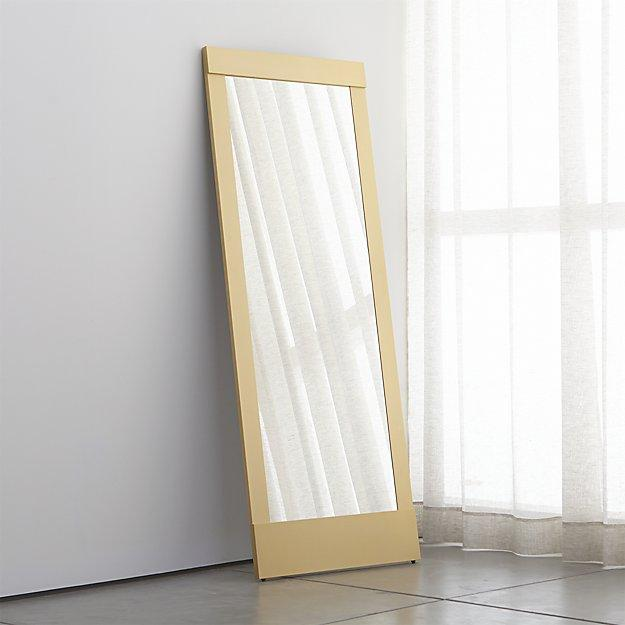 Gold frame rectangle floor mirror for Framed floor mirror