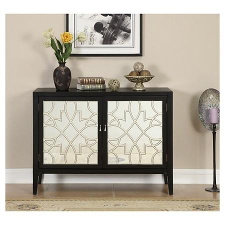 & Black Two Door Fretwork Cabinet