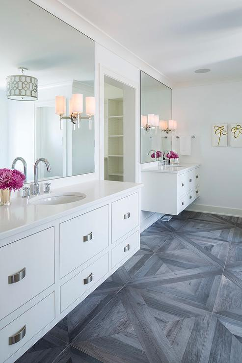 Chic Master Bathroom Features A Closet Door Flanking Inset Mirrors Mounted  With Wylie 2 Light Wall Sconces His And Hers Floating Washstands Topped  With ... Part 65