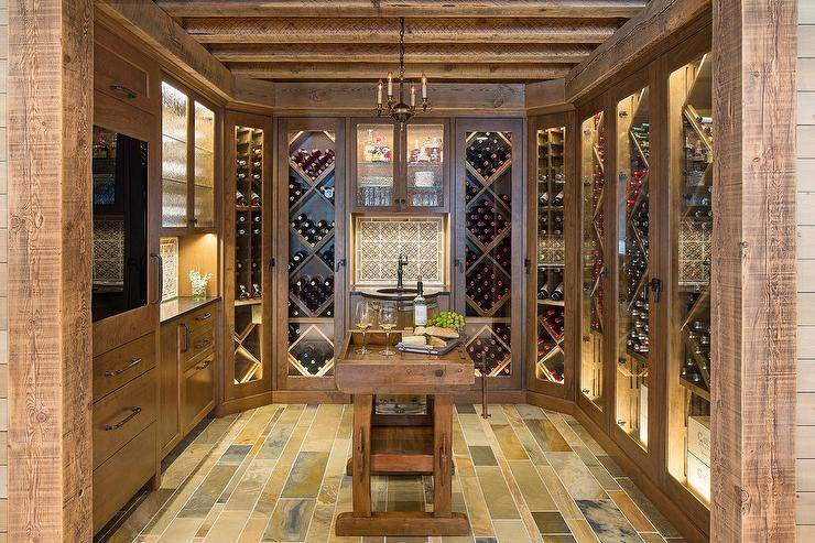Country Style Wine Cellar with Glass Doors & Country Style Wine Cellar with Glass Doors - Country - Basement