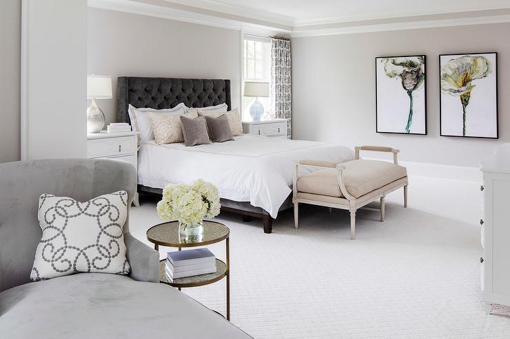 Gray on gray bedroom design transitional bedroom for American white benjamin moore