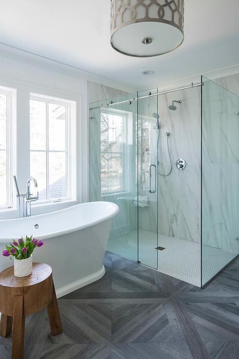 Master Bathroom with Bianco Venato Shower Tiles - Transitional ...