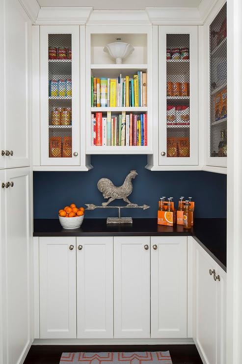 Country Style Pantry With Soapstone Countertops And Chicken Wire Cabinets