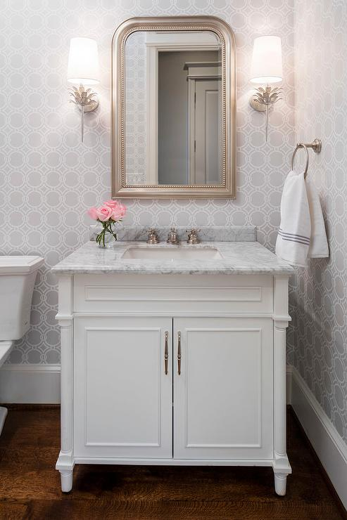 Gray powder room with silver leaf beaded mirror for Powder room bathroom vanities