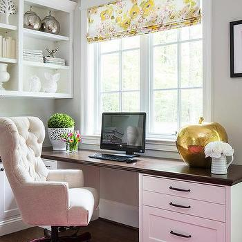 home office with wood top built in desk and hot pink overdyed rug - Tufted Desk Chair