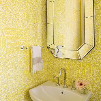 Attrayant Yellow Powder Room With Cimarron Pedestal Sink