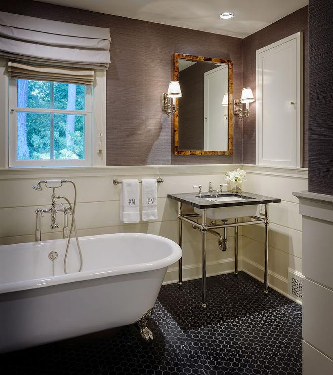 Masculine bathroom with black hex floor tiles transitional bathroom - Masculine bathroom design ...
