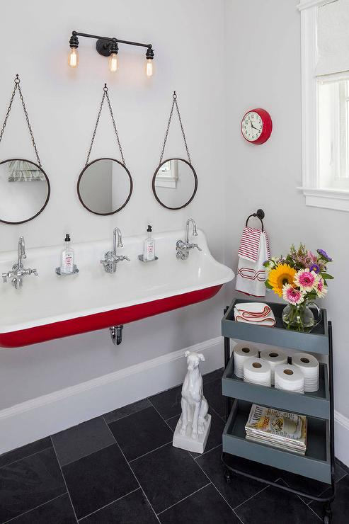Red And Gray KIds Bathroom For Three