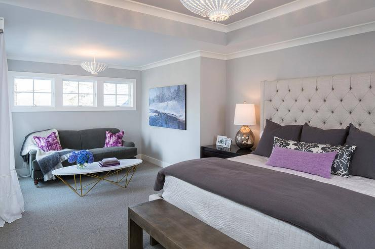 Purple And Gray Bedroom With Light Gray Ceiling