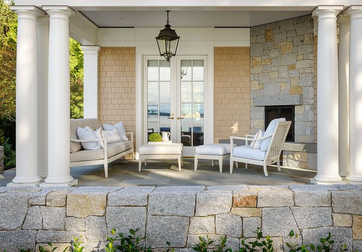 Covered Patio With Greek Columns And Corner Fireplace View Full Size
