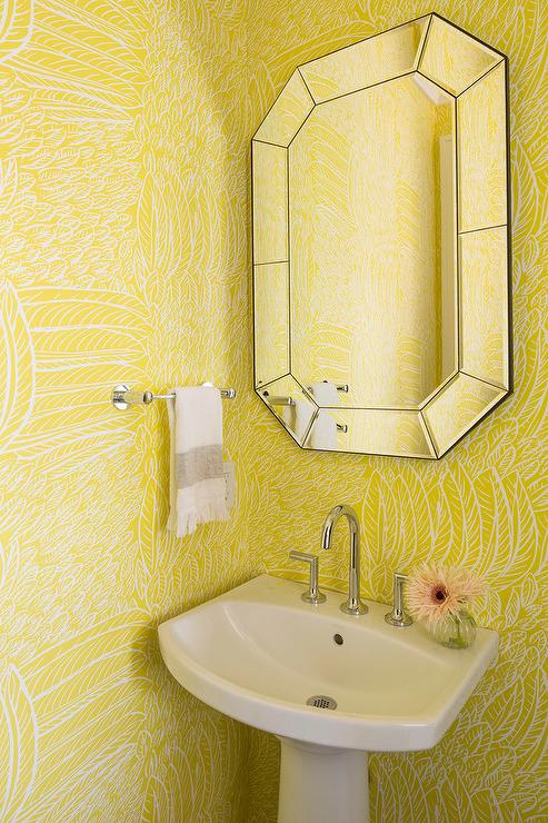 Yellow Powder Room With Cimarron Pedestal Sink