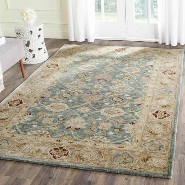 Teal And Taupe Antique Persian Motif Rug
