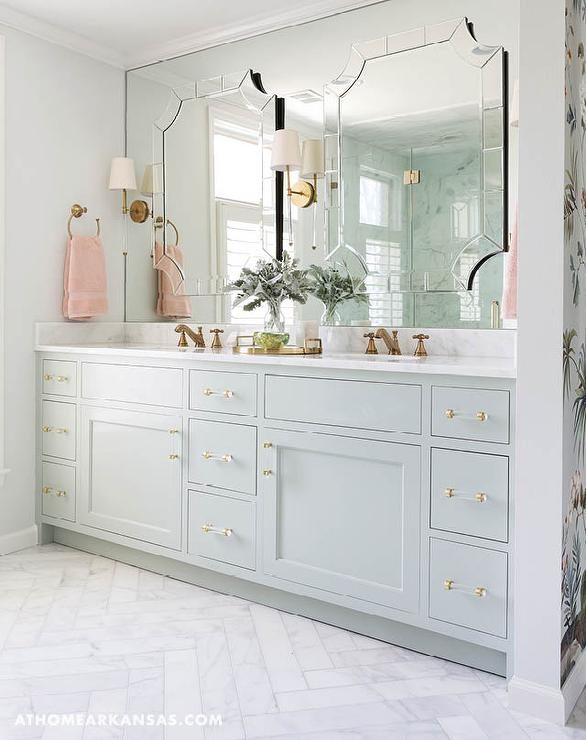 Pale Green Bathroom Vanity With Brass And Glass Pulls Transitional - Bathroom vanities birmingham al