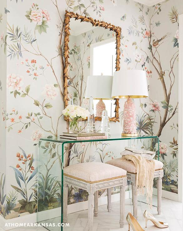 Whimsical Dressing Room With Lucite Waterfall Table