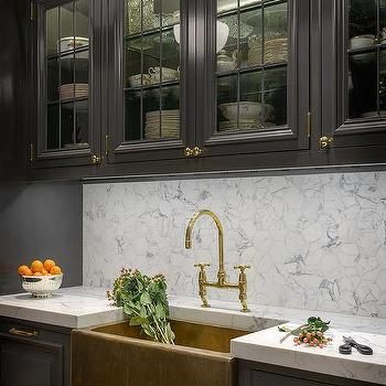 black kitchen with brass farmhouse sink. Interior Design Ideas. Home Design Ideas