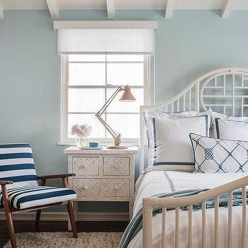 White And Blue Cottage Bedroom With Global Views Klismos Chest