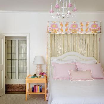 Orange and Pink Girls Bedroom with Tassel Bed Valance and Orange Nightstand