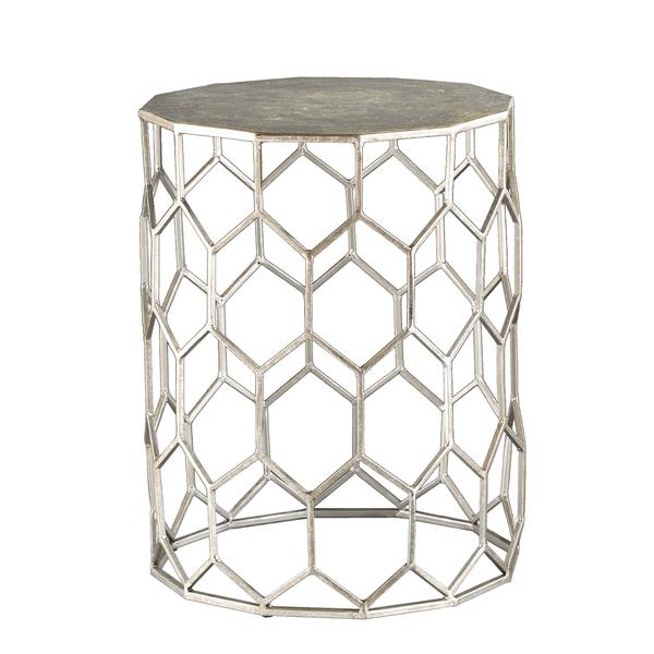 Silver Geometric Hexagon Metal Accent Table - Geometric Hexagon Metal Accent Table