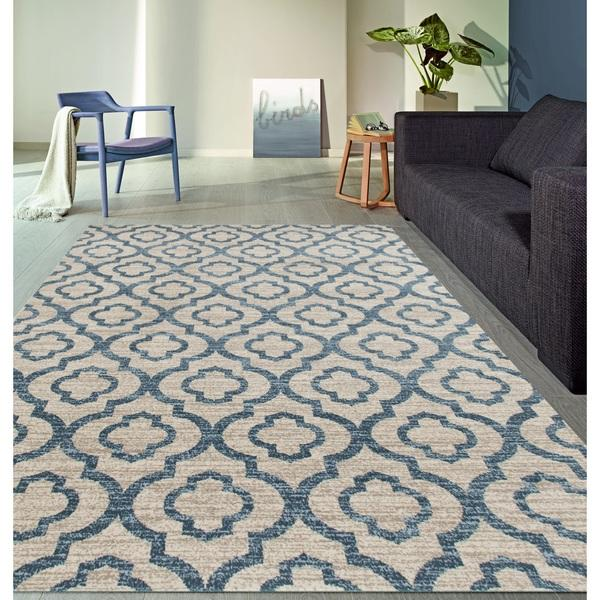 Beige And Blue Moroccan Tile Wool Rug
