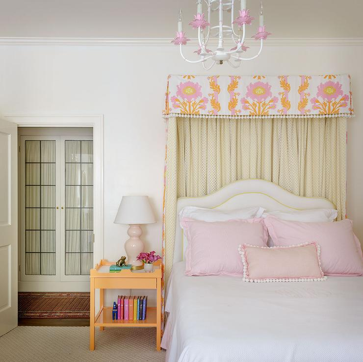 orange and pink girls bedroom with tassel bed valance and orange