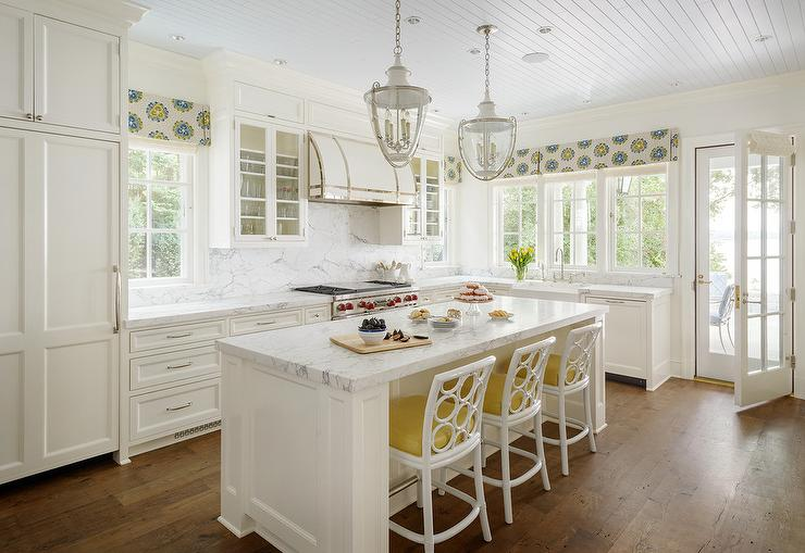 White Kitchen Valance blue and yellow pleated kitchen valance design ideas