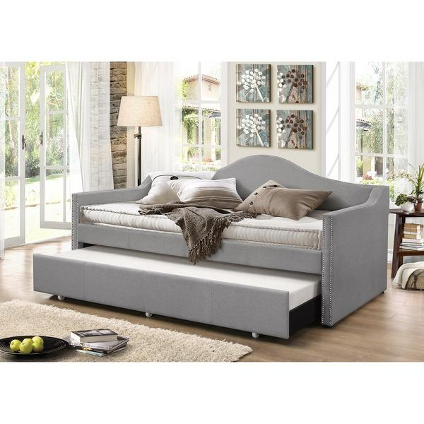 Well-known Gray Upholstered Trundle Daybed AE72