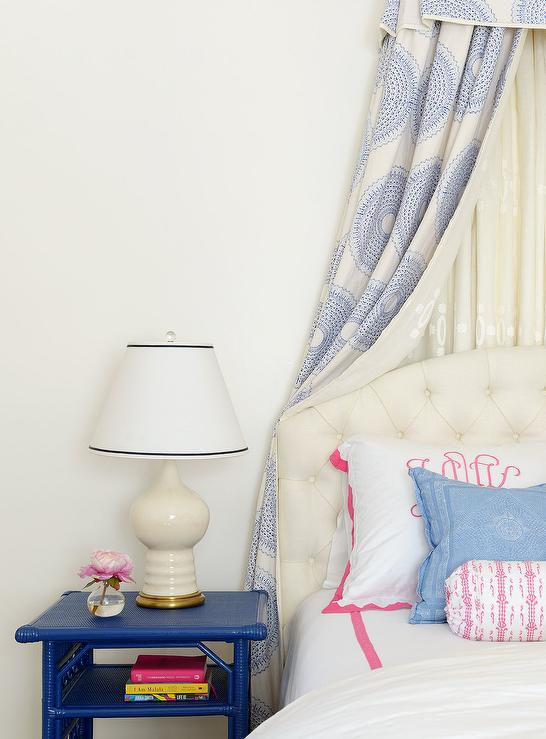 White and Blue Girls Bedroom with Blue Bamboo Nightstand