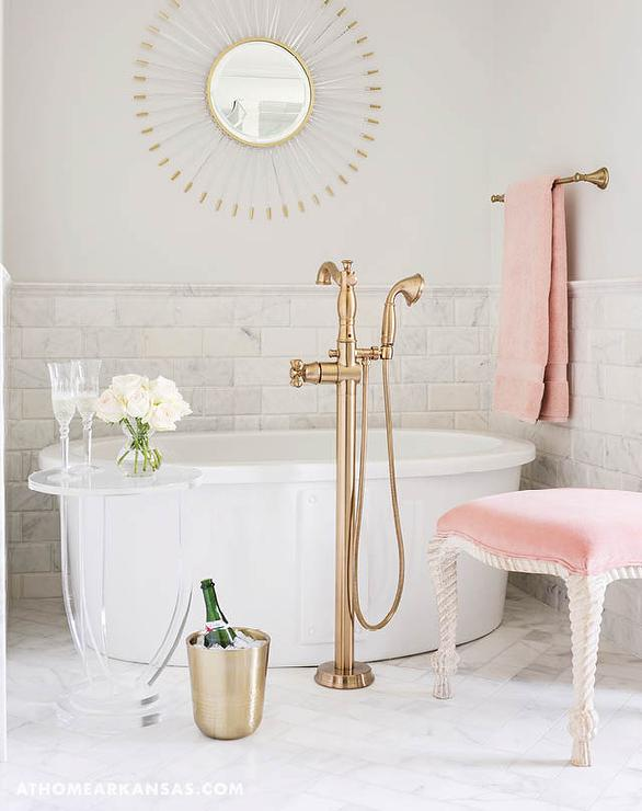 Pink and taupe bathroom with pink curtains and pink marble for Pink and gold bathroom accessories