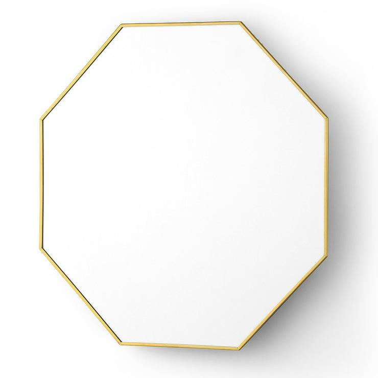 August modern polished gold octagonal wall mirror look for for Decorative mirrors for less