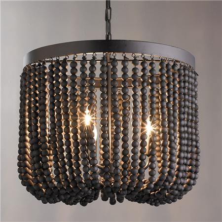 Black wood bead chandelier look 4 less and steals and deals wood beaded draped chandelier view full size aloadofball Image collections