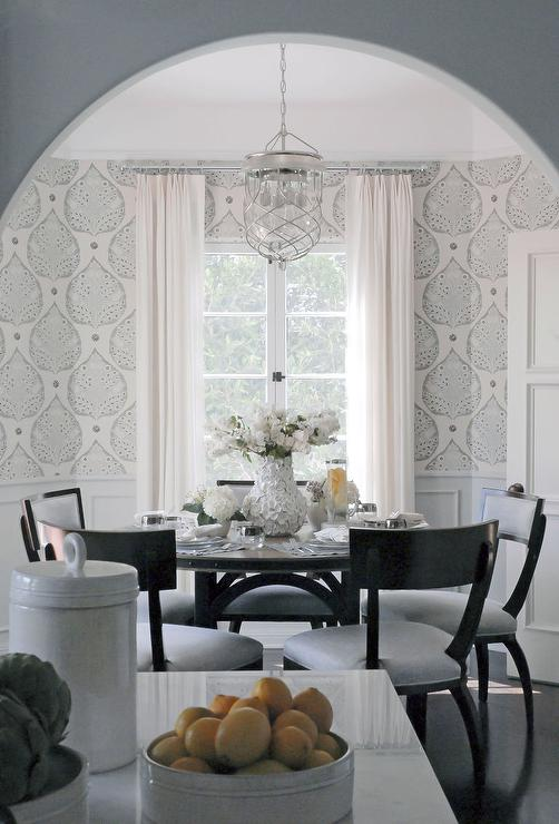 Gray dining room white wainscoting design ideas for Dining room wallpaper