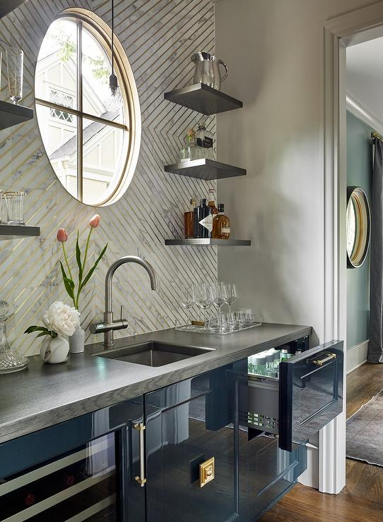 Glossy Blue Kitchen Bar Cabinets With Gray Wood Countertops And White Gold Chevron Backsplash