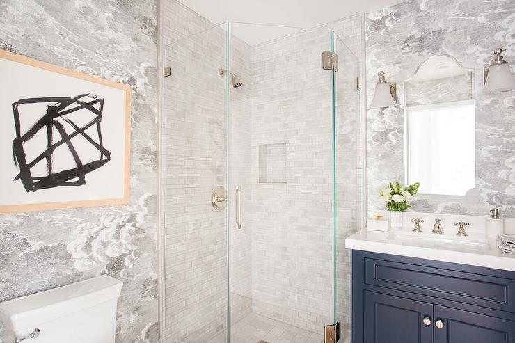 Corner Glass Shower With White Tumbled Marble Tiles