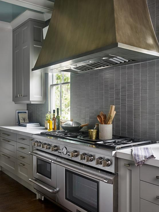 Gray Kitchen Cabinets With Silver Backsplash Tiles Contemporary - Silver gray kitchen cabinets