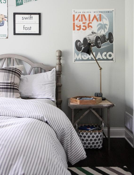 Gray Boys Bedroom With Metal Industrial Bedside Table