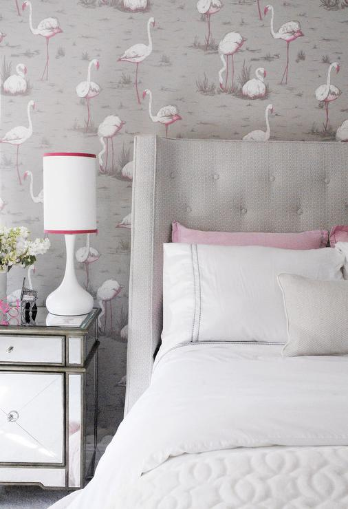 Pink and Gray Teen Girl Bedroom with Pink Flamingos Wallpaper. Pink and Gray Teen Girl Bedroom with Pink Flamingos Wallpaper