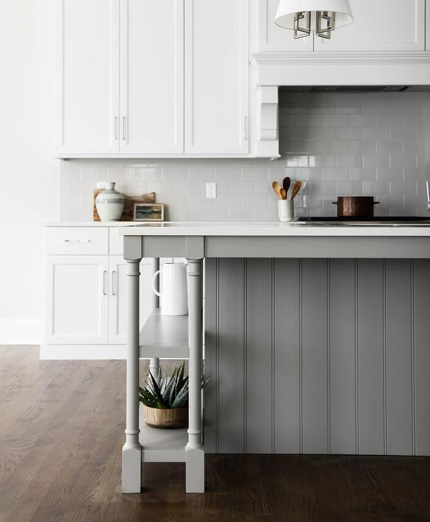 Gray Shiplap Kitchen Island With Turned Legs And Shelves