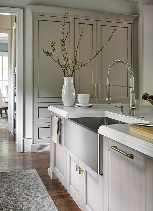 gray wash kitchen island with nickel and brass pulls and stainless steel apron sink - Stainless Steel Apron Sink