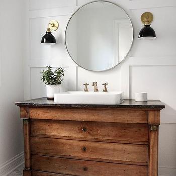 Repurposed Dresser As Washstand Transitional Bathroom