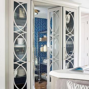 Glass Mullion Pantry Double Doors Flanked by Glass China Cabinets & Eclipse Mullion Kitchen Cabinets Design Ideas