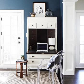 Living Room With Corner Secretary Desk And Ghost Chair