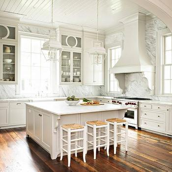 Gray Kitchen With Gray Pinstripe Bar Stools Transitional