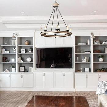 Gray shelves in white living room built in design ideas for Living room with built in cabinets