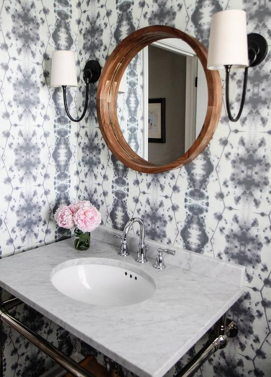 White And Gray Powder Room With Eskayel Hive Waterstone