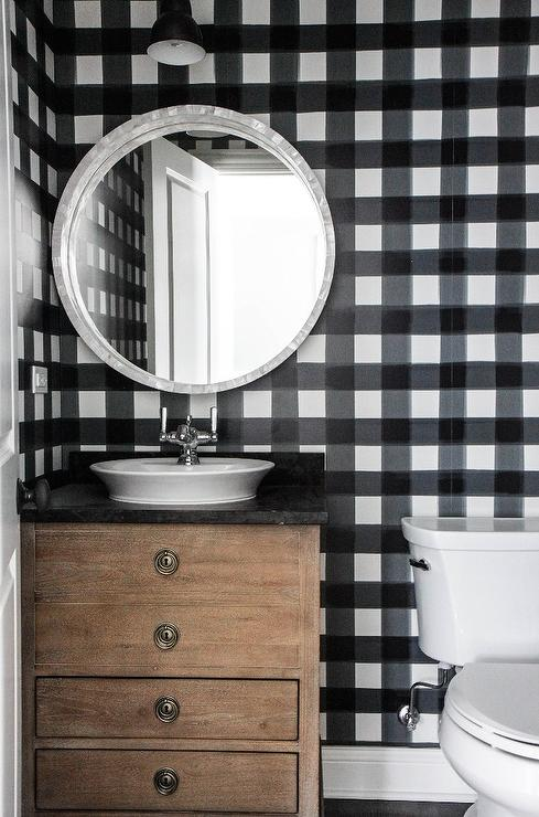 Small Powder Room With White And Black Gingham Wallpaper