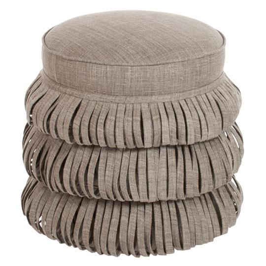 Fine Beige Fringe Round Ottoman Beatyapartments Chair Design Images Beatyapartmentscom