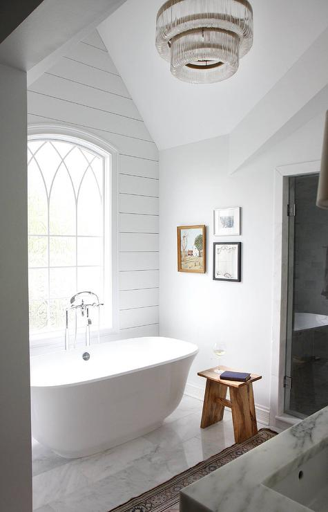 Bathtub Under Arched Window Cottage Bathroom